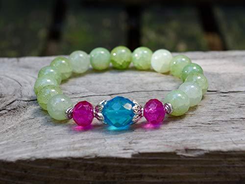 NEU!!! Knalliges Armband mit Glasperlen (Option: mit Ohrringen) - grün, türkis, pink & silber/Achat-Imitat