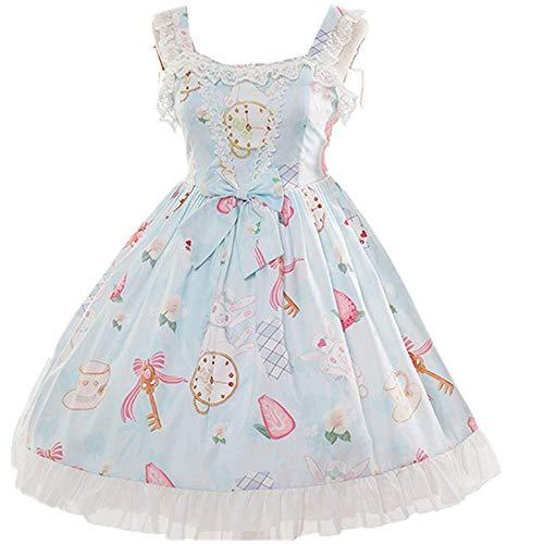 Smiling Angel Sweet Lolita Printed Rabbit Dress Sleeveless Chiffon Lace JSK Princess Dress (Blue, S-M)