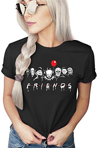 Asher's Apparel Friends Horror T-Shirt   Funny Halloween Shirt   Costume Tee   Unisex Sizing (Large, Black)