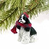1 X Cocker Spaniel Miniature Dog Ornament - Parti Black