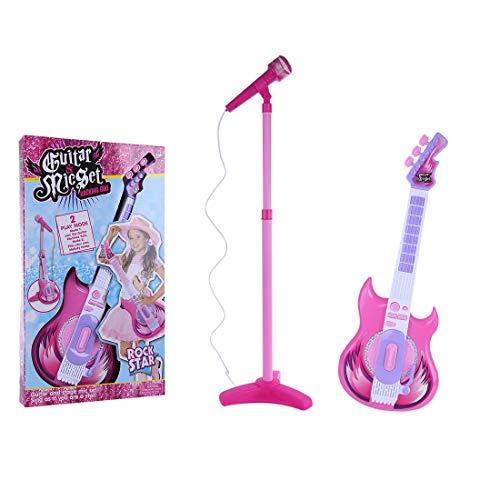 POXL Kinder E-Gitarre Karaoke Mikrofon Spielzeug, Music e-Gitarre Instrumente Karaoke Kindergitarre für Kinder ab 3 Jahre