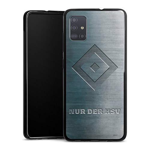 DeinDesign Silikon Hülle kompatibel mit Samsung Galaxy A51 Case schwarz Handyhülle HSV Hamburger SV Metallic Look