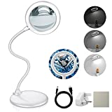 Tonhui 3X Dimmable Magnifying Lamp with 28 Led Daylight, Large Hands Free Magnifying Glass with Light and Stand for Reading Hobbies Crafts Workbench (Silver)