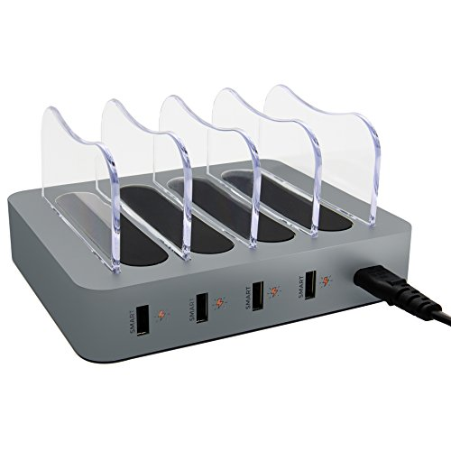 Smart Charging Station for Multiple Devices, Simicore 4-Port USB Charger Station with 5 Short Mixed Cables for Cell Phones, Smart Phones, Tablets (Space Gray)