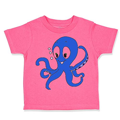 Custom Toddler T-Shirt Blue Baby Octopus Ocean Sea Life Cotton Boy & Girl Clothes Funny Graphic Tee Hot Pink Design Only 5 6T