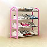 Organizador de almacenamiento de zapatero Rack de zapatos Home-ComplexShoe Rack con 4 niveles-niveles for 17 pares, for el pasillo de la habitación, almacenamiento y organización de guardado, rojo Zap