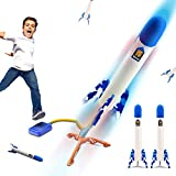 hahaspil Rocket Toy Launcher for Kids – Shoots Up to 100 Feet – LED Rocket Launcher for Kids, with Foot Launch Pad Stomp and Rocket The Light Up, Air Powered, Gift Toys for Boys and Girls