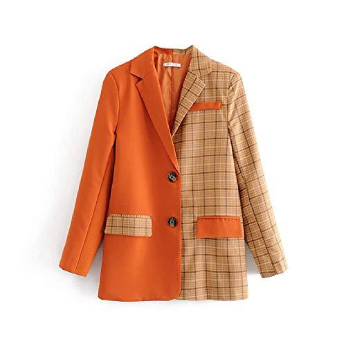 nobrand Damenjacke locker vielseitig langärmelig einfarbig Spleißen Plaid Anzug BlazerDamenbekleidung