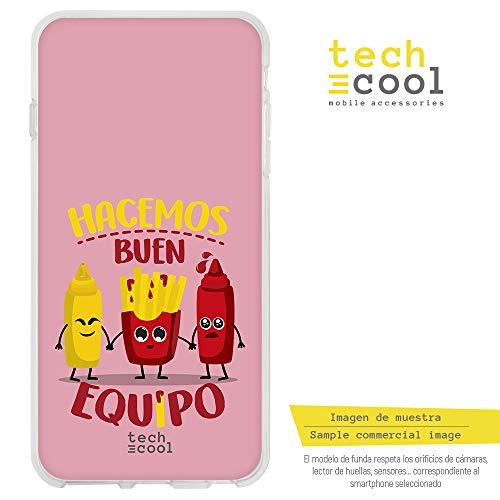 Funnytech Funda Silicona para Samsung Galaxy S7 [Gel Silicona Flexible, Diseño Exclusivo] Frase Hacemos Buen Equipo Patata y Ketchup Rosa