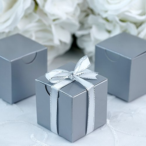 BalsaCircle 100 pcs 2-Inch Silver Wedding Favor Boxes for Wedding Party Birthday Candy Gifts Decorations Supplies Wholesale