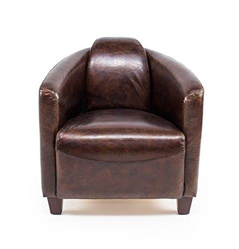 MaisonOutlet Poltrona Design in Vera Pelle Alta qualità, Stile Vintage, Realizzata artigianalmente. Cuoio 100% con Finitura Effetto Invecchiato. Sconto 40%