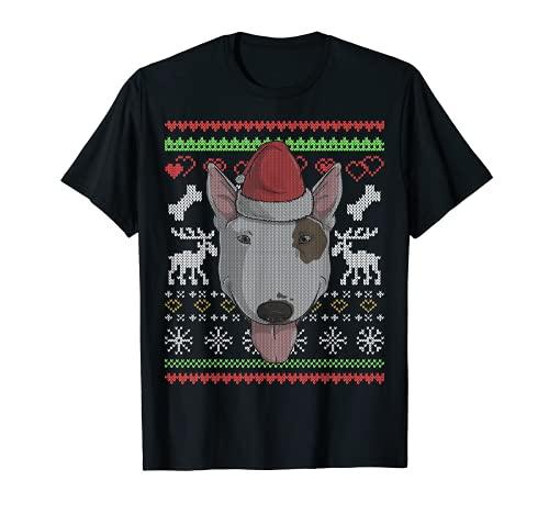 Bull Terrier Perro Santa Claus Ugly Christmas Pattern X-Mas Camiseta