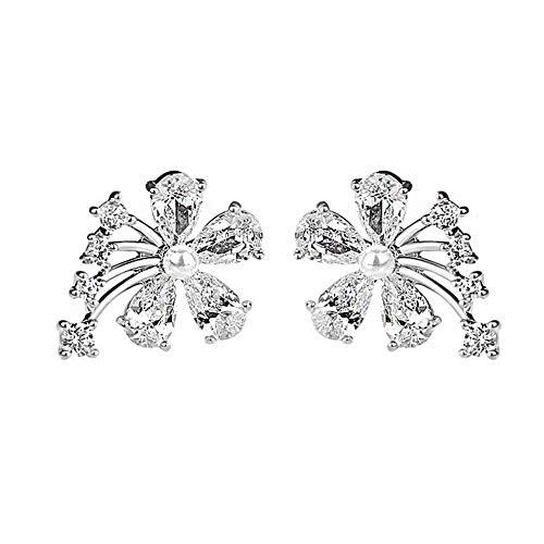 Pendientes para mujer, circonita cúbica con incrustaciones de perlas de imitación y flores, regalo de joyería - oro blanco