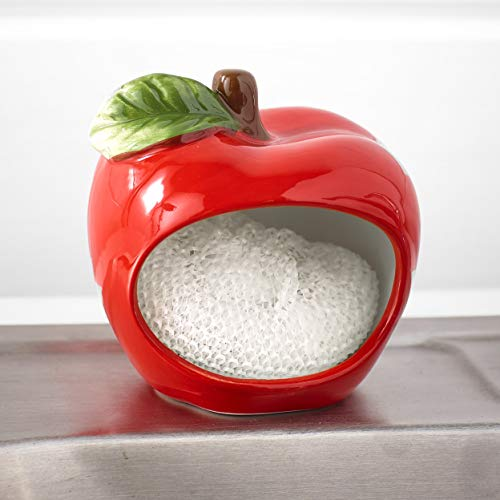 Home Essentials Red Apple Shaped Scrubbie Sponge Holder, Includes Scrubby Pad