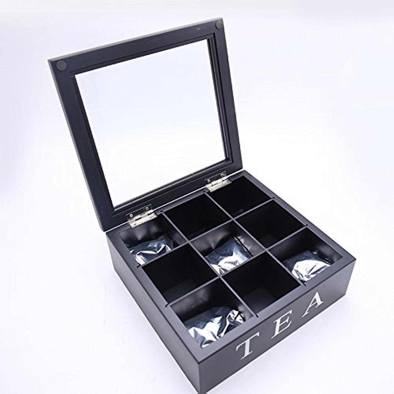 くるみメーター北極圏KINGZUO オシャレ キッチン 雑貨 TEA ロゴ入り 木製 ティーバッグケース 9つの仕切り (ブラック)