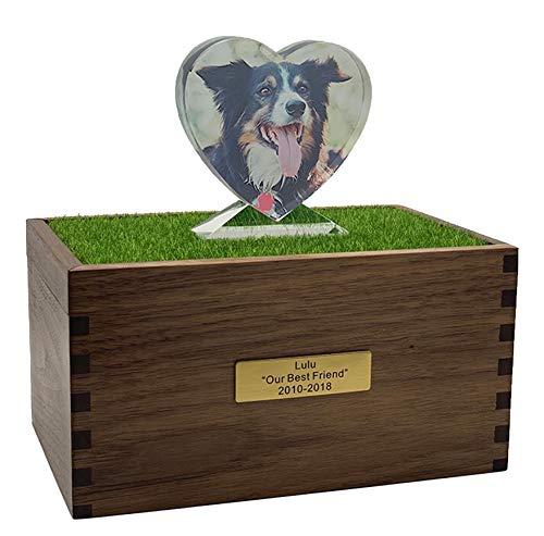 Urna Funeraria de Cremación Conmemorativa de Mascotas Hecha a Mano de Madera para Cenizas de Perros Gato Grandes Caja de Urnas Personalizada de con Foto Cristal de Grabado Nombre y Fecha Mensaje C