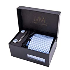 Idea Regalo - Massi Morino ® Cravatta uomo + Gemelli + Fazzoletto (Set cravatta uomo) regalo uomo con confezione regalo (Azzurro)