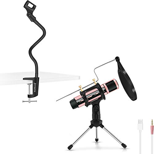 ZealSound k08-u USB 3.5MM Microphone Rose Gold with Gooseneck Microphone Stand