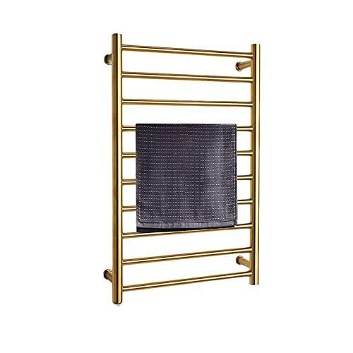 Secadero Calentador de Toallas con 10 Barras Rieles Calentadores de Toallas eléctricos con calefacción Rack de Acero Inoxidable 304 para radiador de baño 88W Dorado (Color: Dorado, Tamaño: Cablea