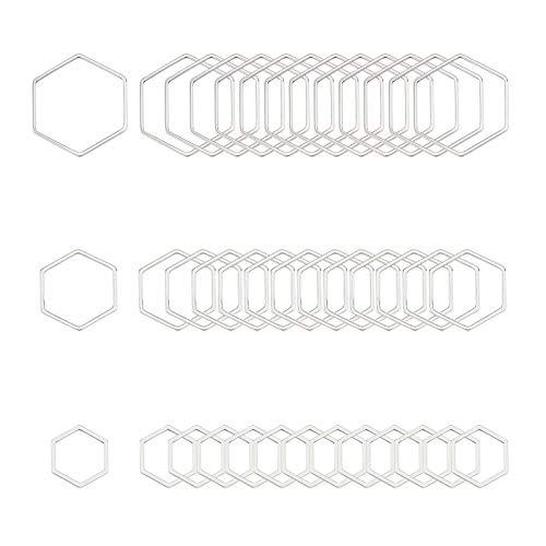 UNICRAFTALE Sobre 36pcs 3 tamaños Hexagon Link Charm Acero Inoxidable Enlace Marcos Circulares Conectores Metal Hollow Charm para Pulsera Collar Fabricación de Joyas Color Acero Inoxidable