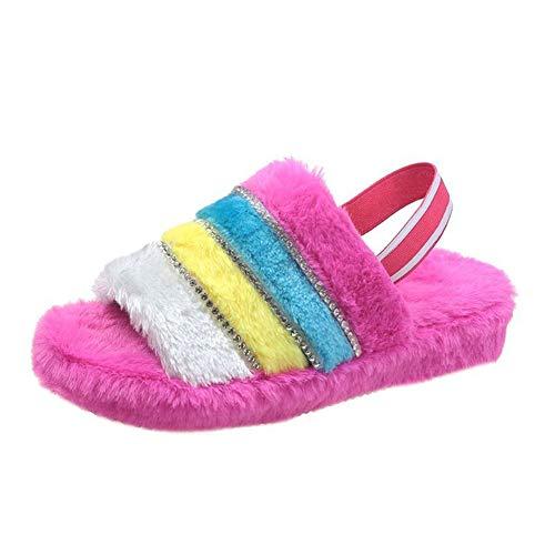 Meng Zapatillas para Mujer, Zapatillas de Felpa en Invierno, tacón de la Pendiente de Suela Gruesa, Sandalias de Moda y Zapatillas, adecuadas para Uso en Interiores y Exteriores,Rose Red,39