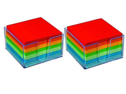 """1InTheOffice Memo Cube, Assorted Colors Memo Pad 500 Sheets""""2 Pack"""""""