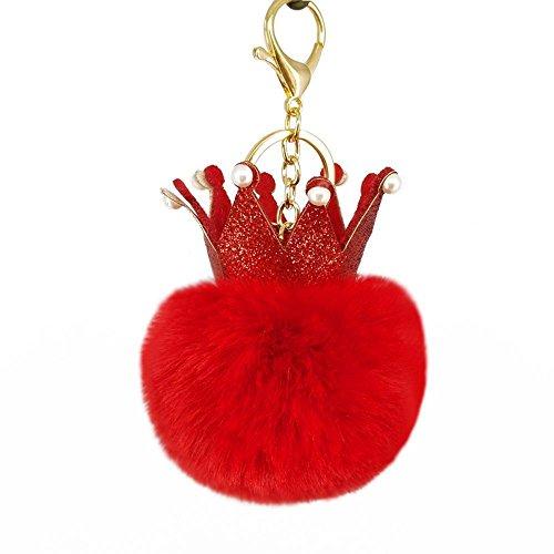 Yarmy Key ring ingelegd met parel kroon imitatie rex konijn haar bal sleutelhanger 14 * 8cm Essentiële tool voor de sleutel