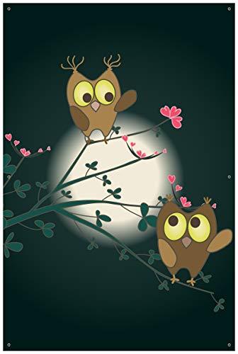 Wallario Garten-Poster Outdoor-Poster - Süße verliebte Eulen auf dem AST bei Nacht im Mondschein in Premiumqualität, Größe: 61 x 91,5 cm, für den Außeneinsatz geeignet
