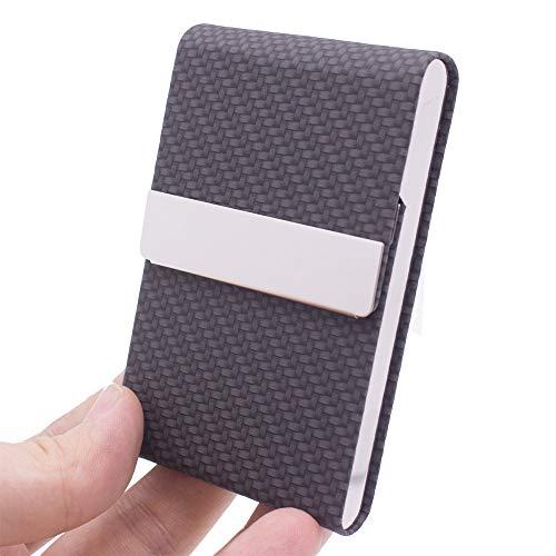Business Card Holder Business Card-Case Slim Professional Name Card Holder with Magnetic Closure Professional PU Leather Business Card Holders for Women & Men (Black)