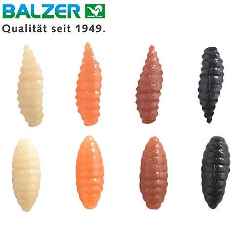 Balzer Soft Maden Caster & Pinkies - 40 Angelköder zum Friedfischangeln, Gummimaden zum Stippen & Feederangeln, Friedfischköder, Größe:11mm