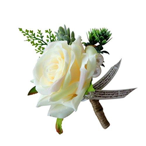 Prettyia Romantische Rose Anstecker Hochzeit Anstecknadel - Champagner, 13 x 10 x 6 cm