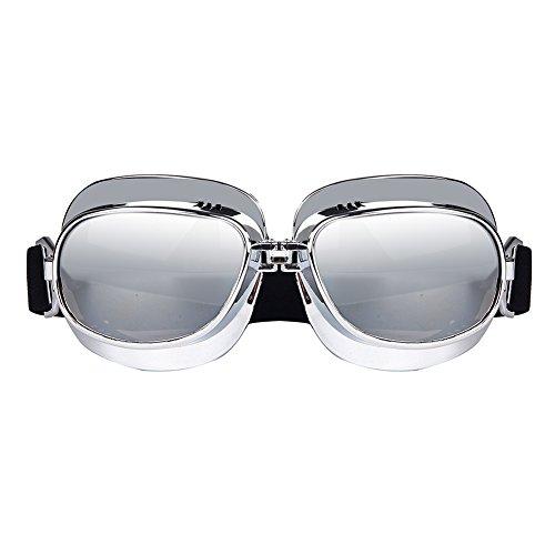 triclicks gafas aviador moto/ATV/esquí/equitación/protección Vintage/Retro máscara, plata