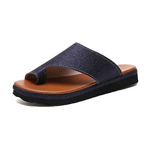 Blaue Sommer-Damen-Sandalen In Übergröße, Lederpantoffeln, Freizeithaus Für Damen, Damenschuhe, Flip-Flops, Damen-Flip-Flops