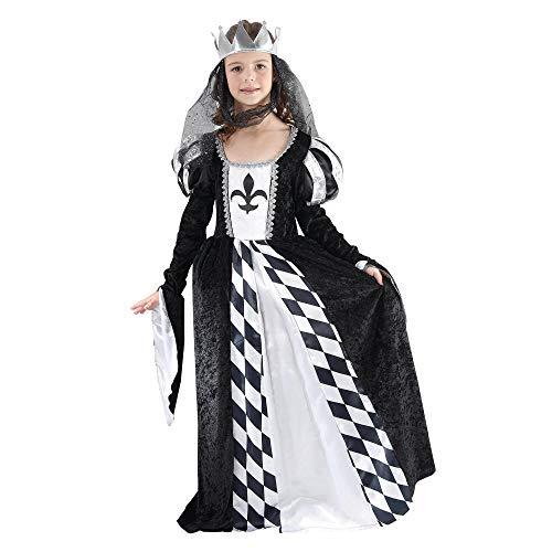Bristol Novelty - Disfraz Infantil de Reina de Ajedrez para niñas (M) (Negro/Blanco)