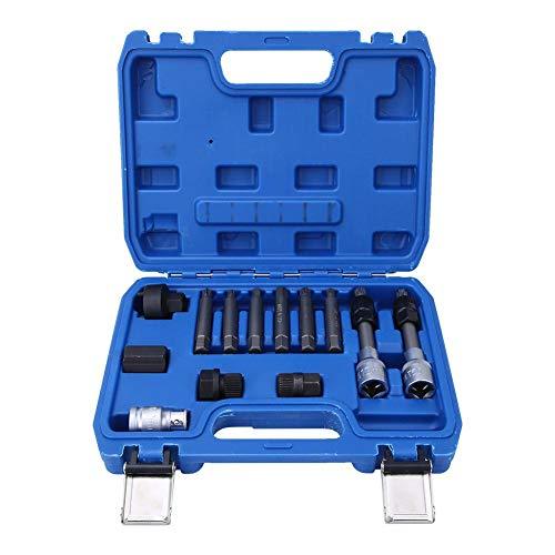 Juego de 13 herramientas de extracción de polea de rueda libre alternador, con funda de plástico