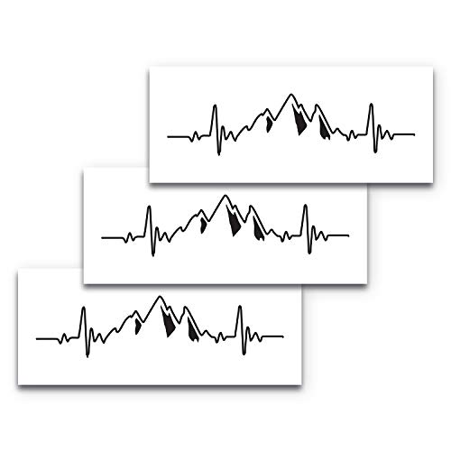 High Supply 9x3 Mountain Heartbeat 3-Pack Bumper Sticker, Nature Bumper Stickers, Adventure Bumper Stickers, Heartbeat Decal, Mountains Decal, Outdoors Car Decal