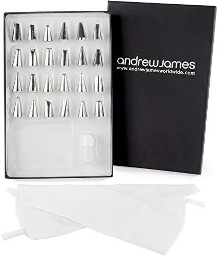 Andrew James Spritzbeutel und Spritztüllen Set | 24 Tüllen aus Edelstahl | 2 Wiederverwendbare Spritztüten aus Baumwolle | Geschenkbox