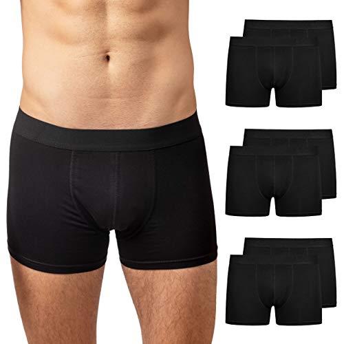 Snocks Boxershorts Herren (6er Pack) Unterhosen Männer (S - 4XL) - aus Bio Baumwolle (6X Schwarz, L)