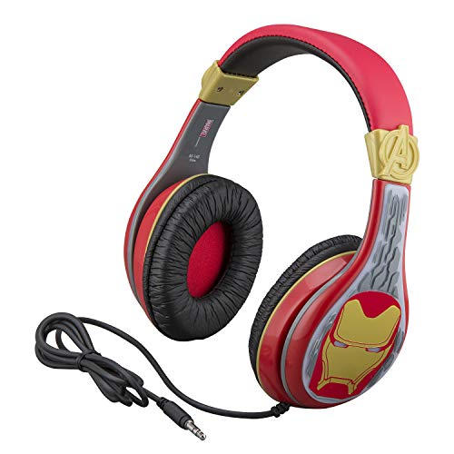 eKids Avengers Endgame Kids Headphones, Adjustable Headband, Stereo Sound, 3.5Mm Jack, Wired Headphones for Kids, Tangle-Free, Volume Control, Childrens Headphones Over Ear for School Home, Travel