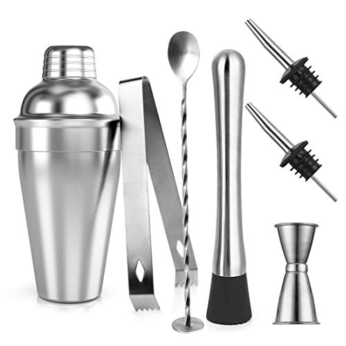 Cocktail Shaker Set, Samione 7 Pezzi Kit da Barman in Acciaio Inox, Professionale 550ml Shaker con Accessori: Misurino, Cucchiaio Mixer, Pestello, Beccucci, Pinze per Ghiaccio e Ricetta