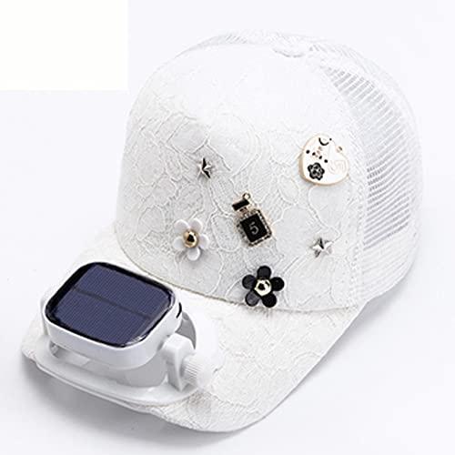 Byrotson Sombrero para el Sol para Mujer con Ventilador Solar, protección UV de Verano, Sombrero de béisbol de ala Ancha, Sombreros de Playa, con energía Solar/Carga USB,Blanco,One Size