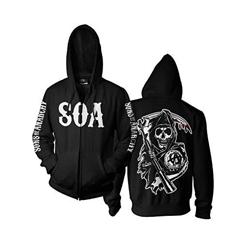 Sons of Anarchy SOA Reaper Reißverschluss Kapuzenpullover (Schwarz), Small