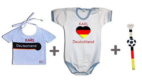 Zigozago Ensemble Coupe du monde Allemagne fait à la main Bavoir + Body + Attache tétine personnalisable