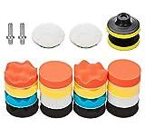 VASLON 3 inch Car Polishing Buffing Waxing Kit Polisher Sponge Pads Set with Drill Adapter for Vehicle Waxing Boat Polishing (22PCS)