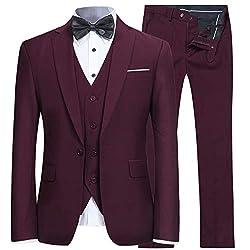 YFFUSHI Mens Slim Fit 3 Piece Suit One Button Blazer Tux Vest and Trousers