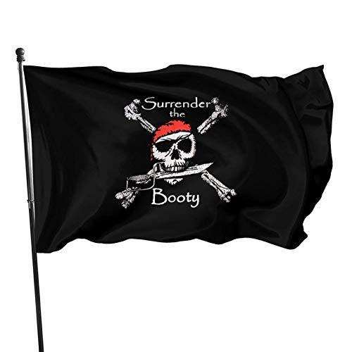 AOOEDM Bandera Decorativa Bandera de jardín Surrender The Booty Pirate Flag 3x5 Feet Sturdy, Durable, Indoor/Outdoor, Garden, Brass Grommet, High-Level Flag Without flagpole