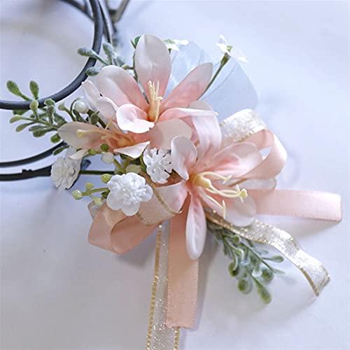 HLH Nuevo Pink Rose Flower Party Flower Body Boutonnieres Dama de Honor de la Dama de Honor Flores de la Mano para los Accesorios de Suministro de Matrimonio (Color : Corsage 4)