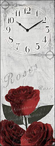 Lupia clockart Shabby Roses Rouges 30 x 80 cm