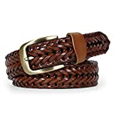 Men's Leather Braided Belt, WERFORU Cowhide Leather Woven Belt for Jeans 1.3 Inch Wide with Prong Buckle (Fits Pants Size 38'-42', 3-Brown-new)