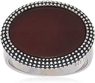 خاتم ملاكي من الفضة الاسترلينية مع حجر باللون الاحمر الغامق للرجال من عتيق